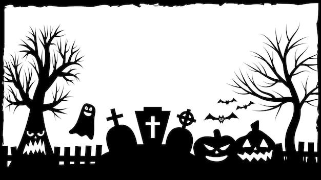 Invitations à la fête d'halloween ou bannière de cartes de voeux avec des symboles traditionnels d'halloween. flyer avec place pour échantillon de texte avec texture dans un simple cadre grunge. illustration vectorielle en noir et blanc.