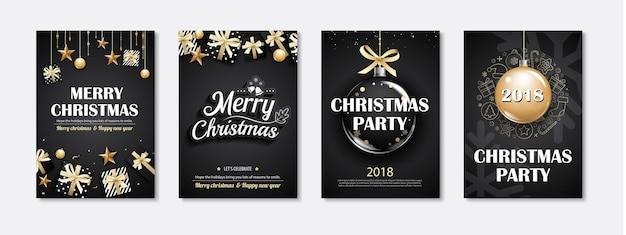 Invitations de fête joyeux noël sur fond noir.