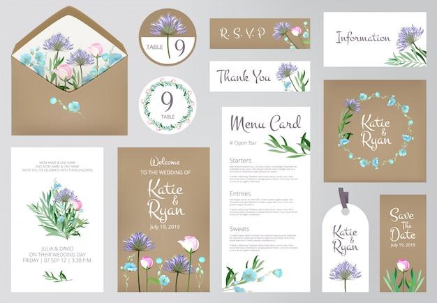 Invitations florales cartes de voeux d'amour de mariage