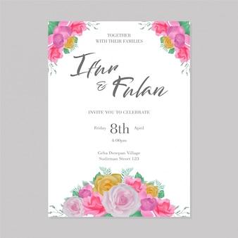 Invitations de mariage de cadre de fleurs d'aquarelle