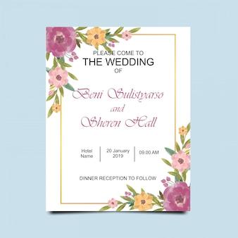 Invitations de mariage avec des cadres de fleurs à l'aquarelle