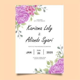 Invitations de mariage avec décorations roses