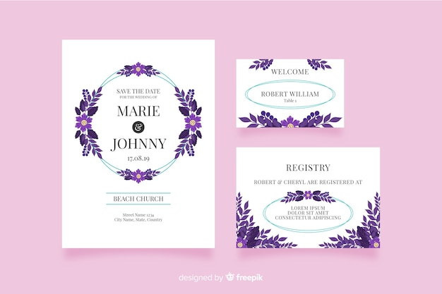 Invitations de mariage en design plat