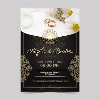 Invitations de mariage dorées élégantes dégradées