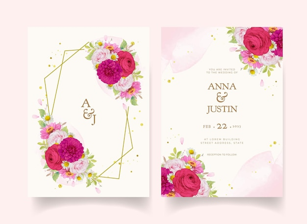Invitations de mariage élégantes avec des fleurs aquarelles rose foncé