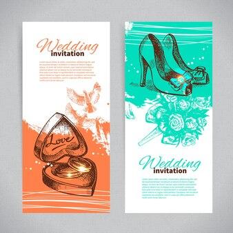Invitations de mariage. ensemble de bannières d'arrière-plans de mariage vintage dessinés à la main