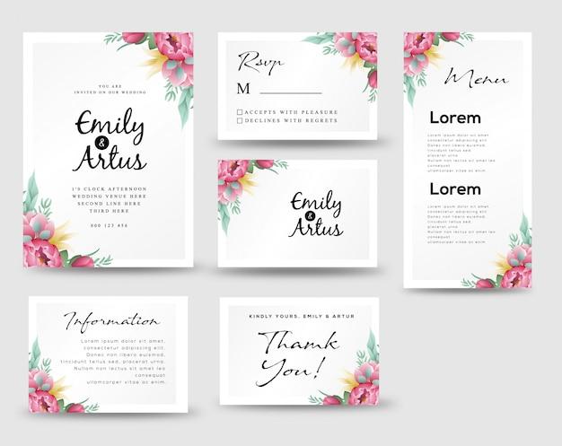 Invitations de mariage avec des fleurs et des feuilles
