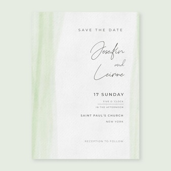 Invitations de mariage minimalistes à l'aquarelle