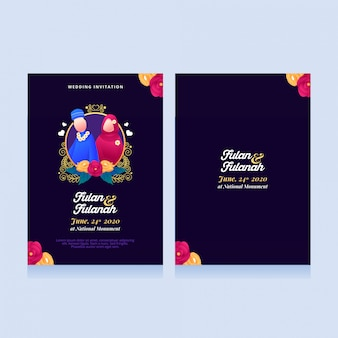 Invitations de mariage musulman avec des illustrations mignonnes