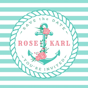 Invitations de mariage nautiques.