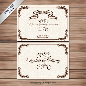 Invitations de mariage d'ornement