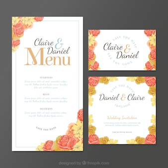 Invitations de mariage avec des roses