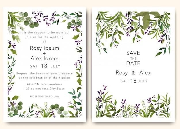 Les invitations de mariage sauvent la conception de date avec un élégant anémone de jardin