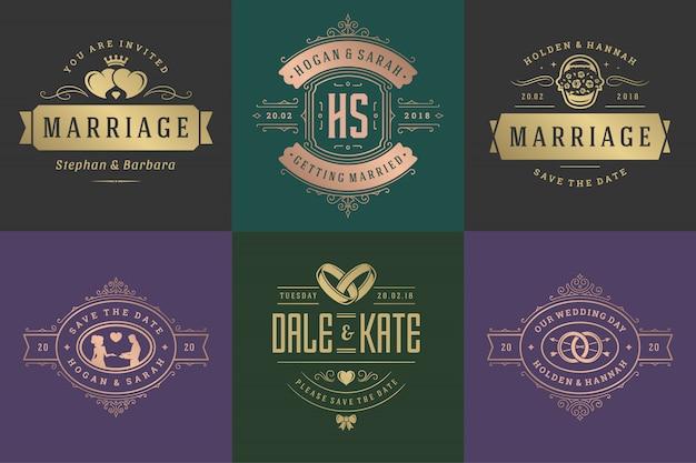 Les invitations de mariage sauvent les logos et badges de date