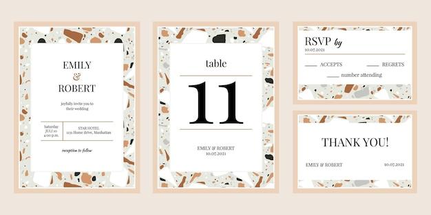 Invitations de mariage de texture mosaïque. ensemble de flyers de mariée de textures de mosaïque de marbre ou de granit