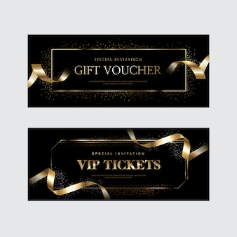 Invitations vip de luxe et arrière-plans de coupon