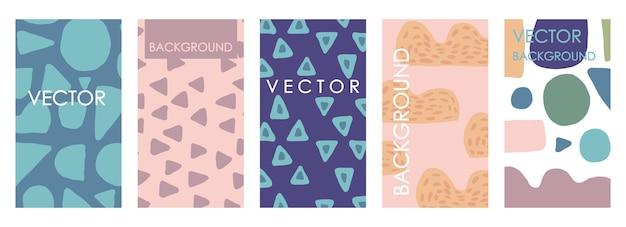 Invitations vives et conception de modèles de cartes. ensemble vectoriel abstrait à main levée d'arrière-plans hétéroclites pour bannières, affiches, modèles de conception de couverture