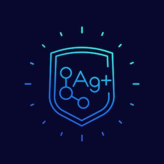 Ions d'argent, icône de vecteur de ligne de protection antibactérienne