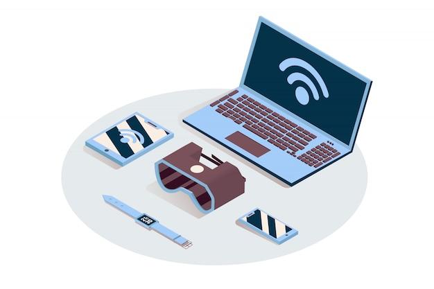 Iot, électronique portable isométrique