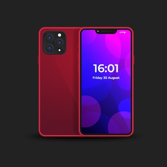 Iphone 11 réaliste avec coque arrière rouge
