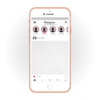 Iphone avec kit d'interface utilisateur mobile instagram. maquette de smartphone et application de chat
