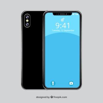 Iphone x design plat avec différentes vues