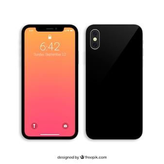Iphone x avec fond d'écran dégradé