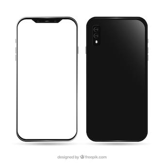Iphone x réaliste avec écran blanc