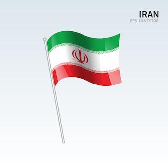 Iran, agitant le drapeau isolé sur fond gris