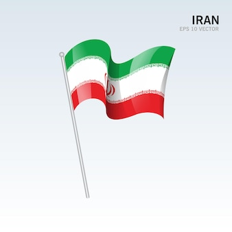 Iran, agitant le drapeau isolé sur gris