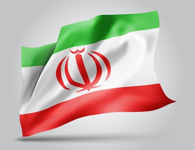 Iran, drapeau vectoriel avec des vagues et des virages ondulant dans le vent sur fond blanc.