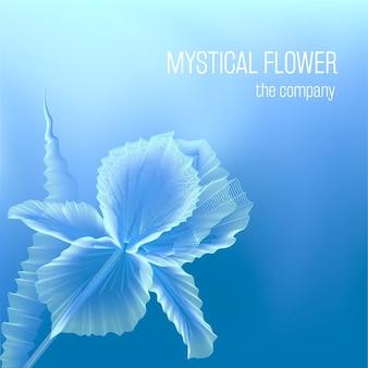Iris bleu mystique sur fond froid