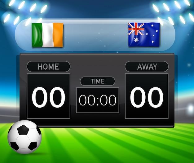 Irland vs australie tableau de bord