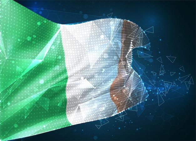 Irlande, drapeau vectoriel, objet 3d abstrait virtuel à partir de polygones triangulaires sur fond bleu