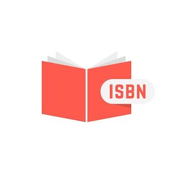 Isbn signe avec livre rouge. concept de numérisation, d'identification, de clé de brochure, de commerce, de marketing, d'édition. isolé sur fond blanc. illustration vectorielle de style plat tendance logotype moderne design