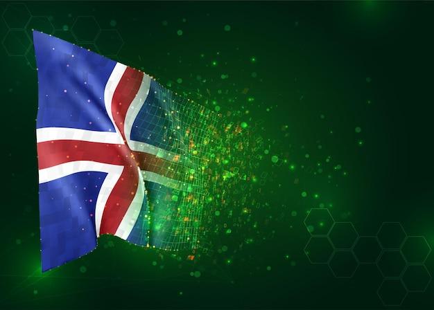 Islande, drapeau 3d sur fond vert avec des polygones