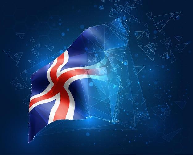 Islande, drapeau, objet 3d abstrait virtuel de polygones triangulaires sur fond bleu