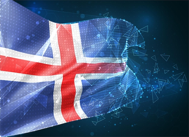 Islande, drapeau vectoriel, objet 3d abstrait virtuel à partir de polygones triangulaires sur fond bleu