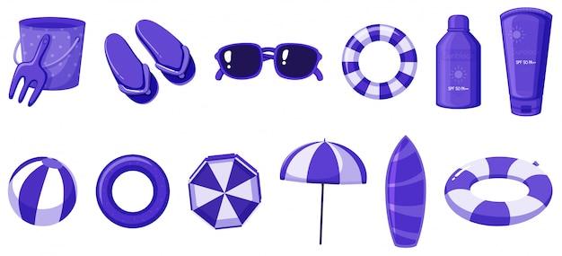 Isolé des articles d'été de couleur violette