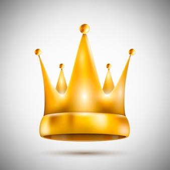 Isolé sur une couronne dorée pentagonale blanche
