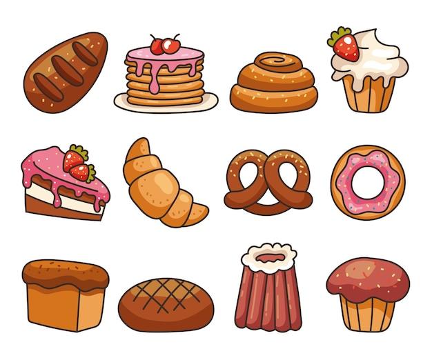 Isolé sur fond blanc ensemble de style moderne de ligne plate de nourriture de boulangerie