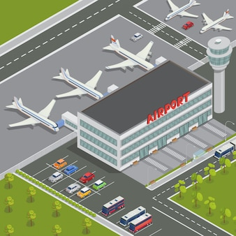 Isometric airport building. terminal d'aéroport avec des avions. voyage air. avion de passagers. illustration vectorielle