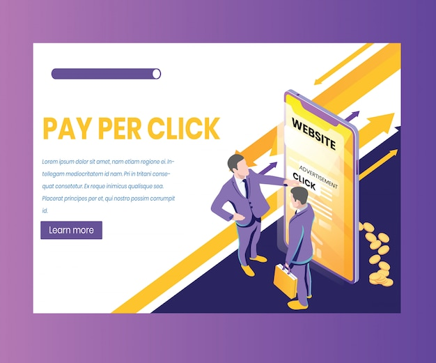 Isometric artwork concept of pay per click,