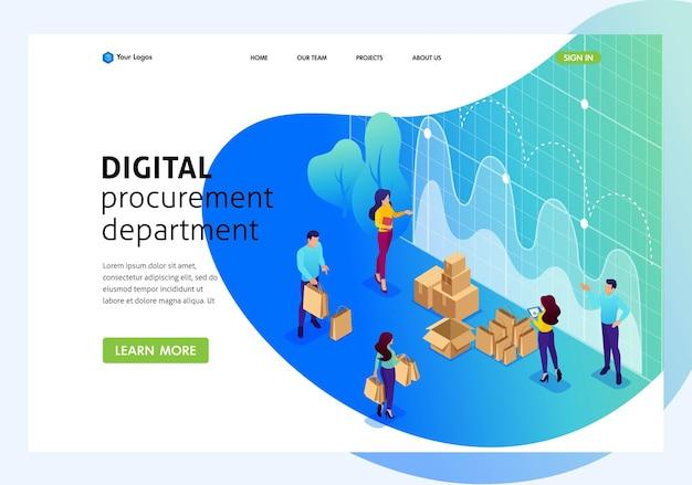 Isometric bright concept concept d'approvisionnement numérique, recherche marketing, travail d'équipe. page de destination du modèle de site web.