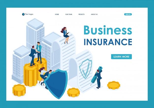 Isometric businessmen assure leurs actifs, leurs investissements et leurs actions, bouclier page de destination