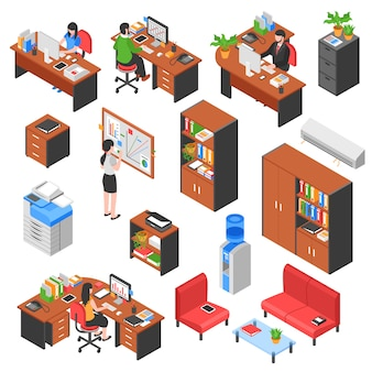 Isometric office elements set