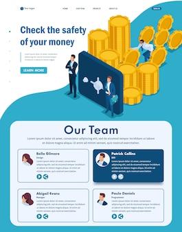 Isometric website landing page of protégez vos fonds des menaces externes, du vol