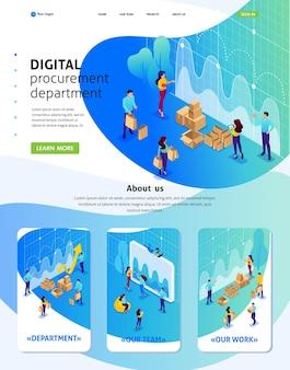 Isometric website template landing page concept d'approvisionnement numérique, recherche marketing, travail d'équipe. 3d adaptative.