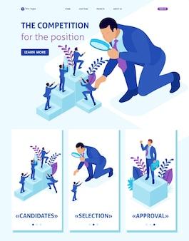 Isometric website template landing page lutte concurrentielle pour la croissance de carrière, l'homme d'affaires regarde les candidats à travers une loupe. 3d adaptative.
