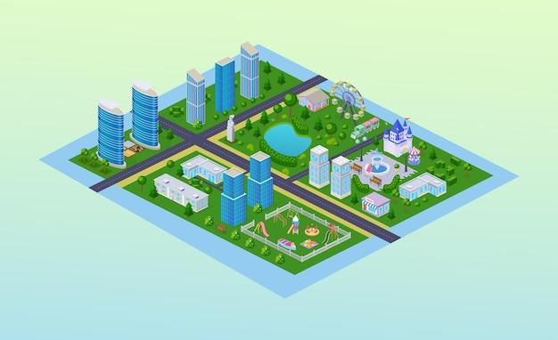 Isométrie de la carte extérieure de la ville moderne. gratte-ciel du quartier de la rue de l'infrastructure au centre-ville, parc enfantin avec manège d'attractions, aire de jeux pour enfants avec toboggans, dessin animé vectoriel d'un immeuble résidentiel